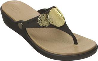 Crocs Embellished Wedge Flip Sandals - Sanrah Embellished