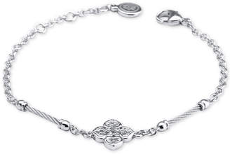 Charriol Le Fleur Silver Bracelet with White Topaz and Stainless Steel Cable