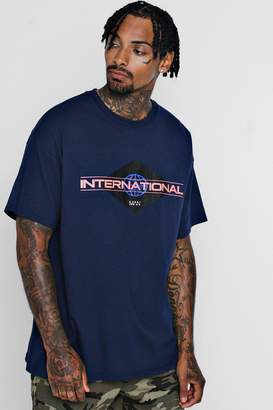 boohoo Oversized International MAN Print T-Shirt