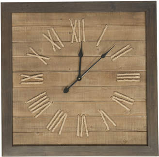 Lifestyle Traders Natural Square Panel Fir Wood Roman Numeral 75Cm Clock