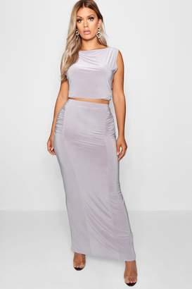 boohoo Plus Slinky Maxi Skirt Co Ord