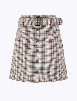 Marks and Spencer Wool Blend Checked A-Line Mini Skirt