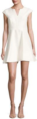 Halston Cap Sleeves Flared Dress