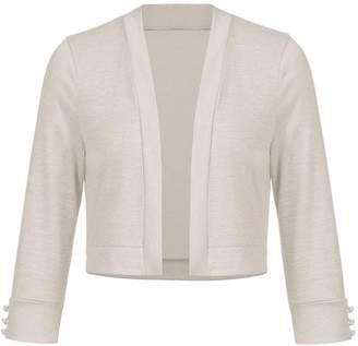 5c7b4ac122 Grabsa Women s 3 4 Sleeve Bolero Cropped Evening Shrug Cardigan Apricot