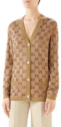 Gucci V-Neck Logo-Jacquard Fine-Wool Cardigan