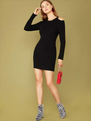 Shein Solid Cold Shoulder Form Fitted Sweater Dress