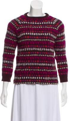 Prada Jacquard Crew Neck Sweater Purple Jacquard Crew Neck Sweater