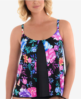 Swim Solutions Gracious Printed Flyaway Underwire Tankini Top, Created for Macy's Women's Swimsuit