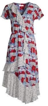 Parker Women's Reina Mixed Print Wrap-Front Midi Dress - Animalia - Size Large