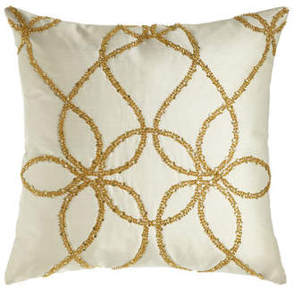 "Lili Alessandra Ivory Silk Pillow with Gold Beading, 22""Sq."