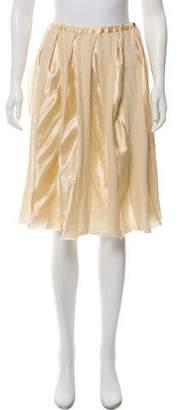 Sacai Wool Satin-Paneled Skirt