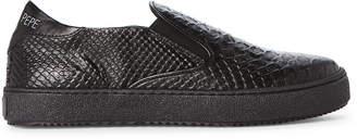 Patrizia Pepe Toddler/Kids Girls) Black Embossed Leather Slip-On Sneakers