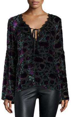 Nanette Lepore Long-Sleeve Floral Velour Blouse, Eggplant/Multicolor $398 thestylecure.com