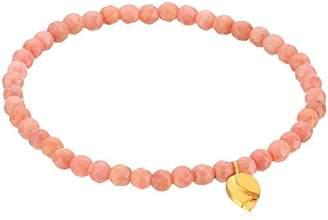 Satya Jewelry Rhodonite Gold Plated Lotus Petal Stretch Bracelet