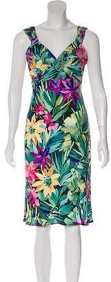 Blumarine Embellished Floral Print Dress