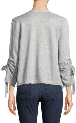 Neiman Marcus Tunneled Bow-Tie Sleeve Open-Front Cardigan