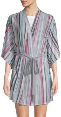 Josie Striped Three-Quarter Sleeve Robe