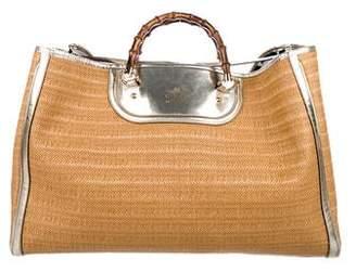 Gucci XL Bamboo Raffia Tote