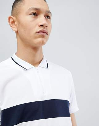 Selected 1/4 Zip Polo Shirt With Block Panel