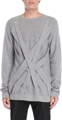Helmut Lang Cashmere Crisscross Front Crew Neck Sweater