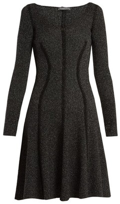 Alexander McQueen Speckled Flared Skirt Ribbed Knit Dress - Womens - Black