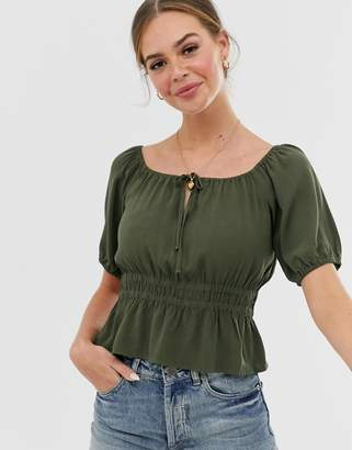 Abercrombie & Fitch cropped prairie blouse