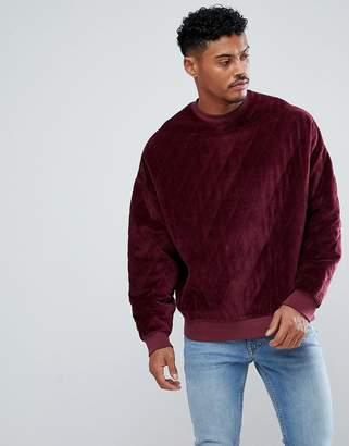 Asos Design Oversized Sweatshirt In Quilted Velour