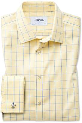 Charles Tyrwhitt Slim Fit Non-Iron Prince Of Wales Yellow and Royal Blue Cotton Dress Shirt French Cuff Size 14.5/33
