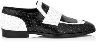 Jimmy Choo TEDI Black and White Dotted Shiny Leather Loafers