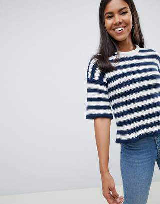 Bellfield Chunky Stripe Knit Sweater Bell Sleeve