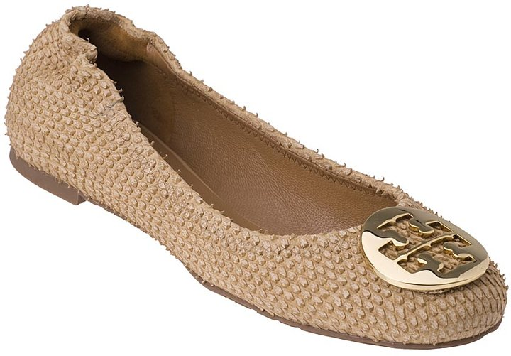 Tory Burch Reva Distressed Python Camel Leather Ballet Flat