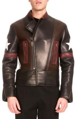 Givenchy Star Colorblock Leather Biker Jacket $5,395 thestylecure.com