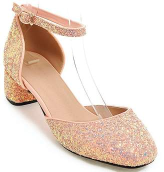 7ad5d7ee086 DoraTasia Women s Pointy Toe Glitter Bling Block Low Heel Ankle Strap Pumps  Party Wedding Dress Shoes