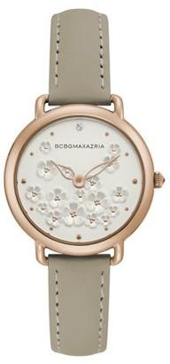 BCBGMAXAZRIA Women's Gold Case Silver Dial White Strap Watch