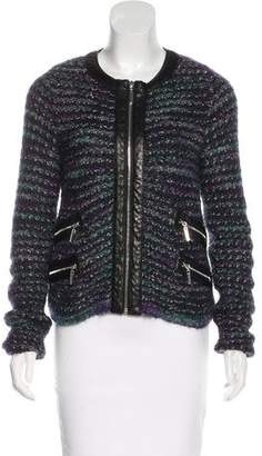 Tory Burch Leather Trimmed Knit Jacket