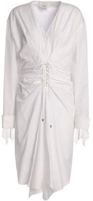 3.1 Phillip Lim Tie-Front Ruched Cotton-Poplin Dress
