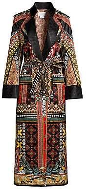 Camilla Women's Mother Multi-Print Silk Jacquard Military Coat