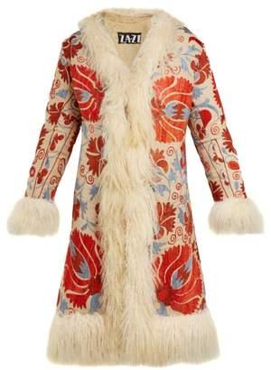 Zazi Vintage - Suzani Embroidered Shearling Lined Coat - Womens - White Multi