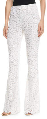 Michael Kors Side-Zip Flare-Leg Floral-Lace Pants