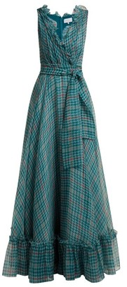 Luisa Beccaria Houndstooth Print Silk Chiffon Gown - Womens - Green Multi