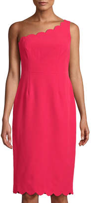 Maggy London Scalloped One-Shoulder Sheath Dress