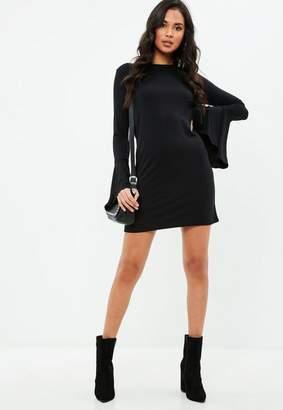 Missguided Black Frill Sleeve Shift Dress
