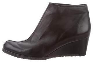 Stuart Weitzman Leather Wedge Booties