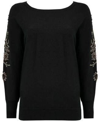 Wallis Black Embellished Sleeve Batwing Jumper