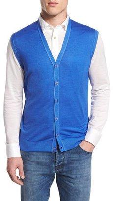 Kiton Cashmere-Blend Cardigan Vest, Royal $1,995 thestylecure.com