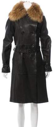 Andrew Marc Fur-Trimmed Leather Coat