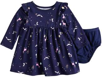 Baby Girl Jumping Beans Printed Dress & Bloomers Set