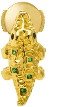 Black Diamond Yvonne Leon Mini Crocodile 18K Gold, Tsavorites And Single Earring