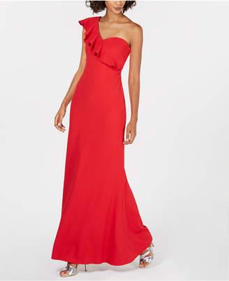Calvin Klein Ruffled One-Shoulder Gown