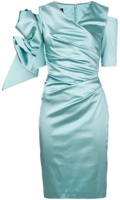 Talbot Runhof ruched embellished sleeve dress